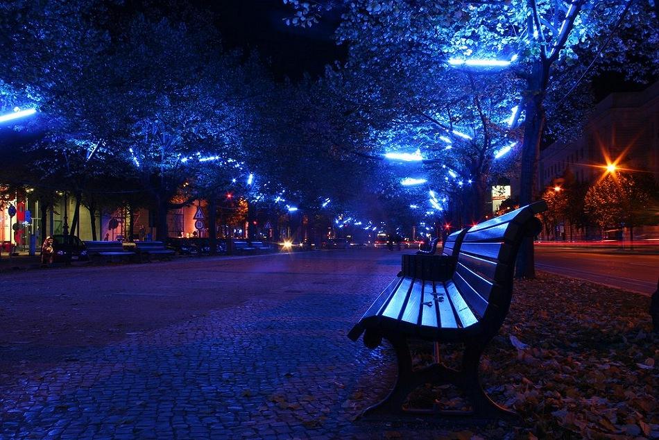 Bänke unter blauen Linden ... Berlin@Night2