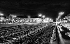 Bahnhof Geldern bei Nacht