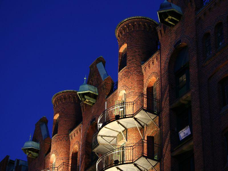 Balkone in der Speicherstadt in Hamburg