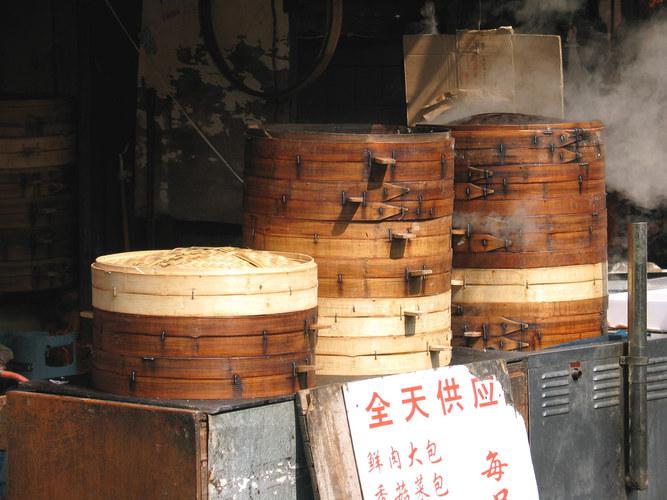 Bambuskörbe für Dim Sum