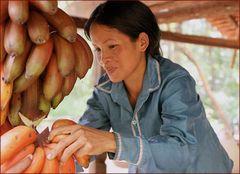Bananen-Verkäuferin in Cambodia