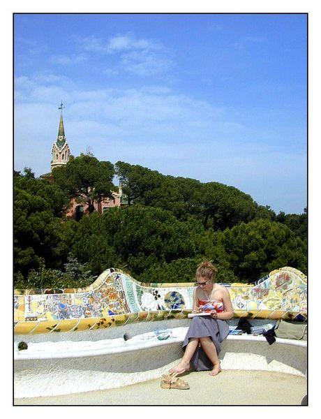 Barcelona: Malerin im Park Guell