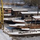 bateaux de Loire sous la neige