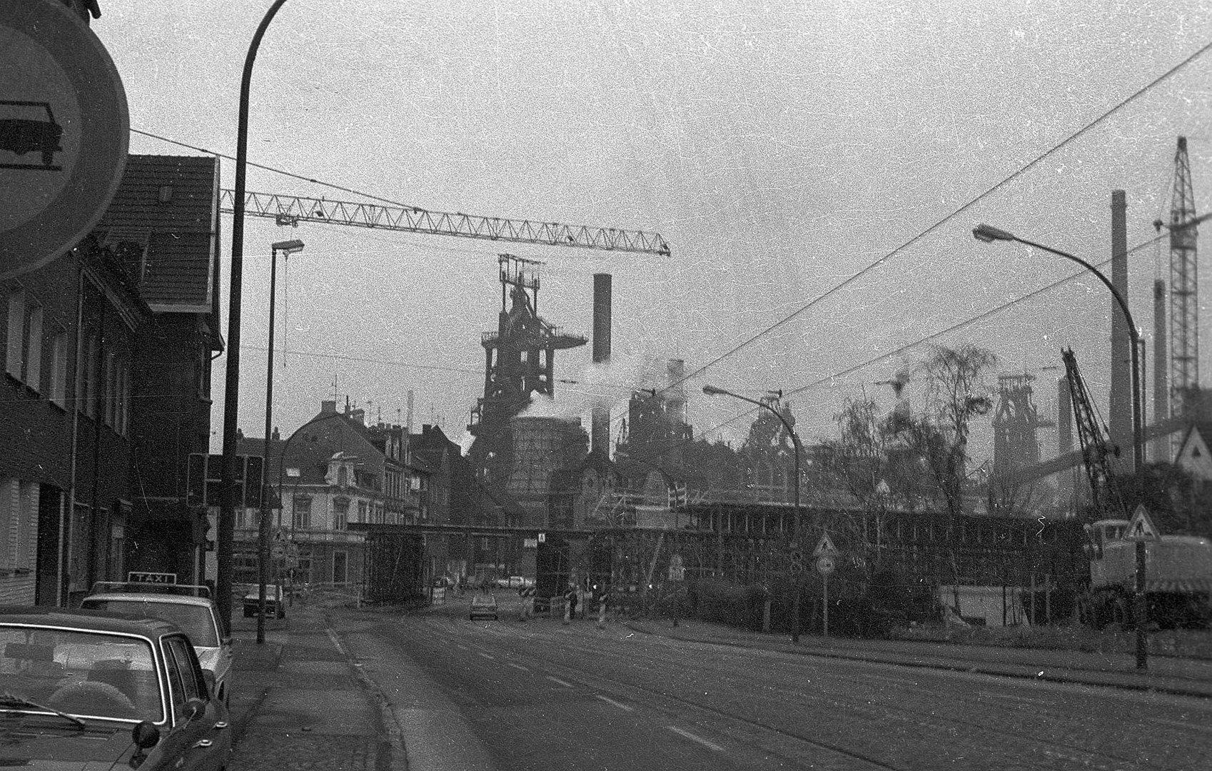 Bau Autobahnbrücke A42, Duisburg Beeck 1977
