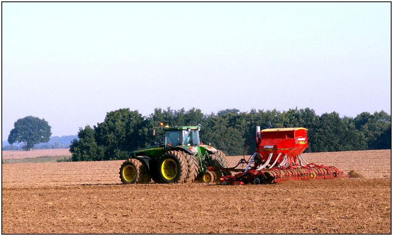 Bauer am frühen Morgen bei der Feldarbeit