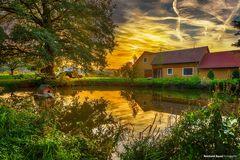 Bauernhof Idylle mit Teich