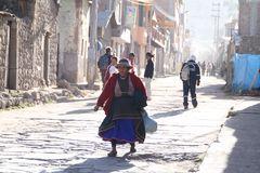 Bauersfrau auf Dorfstrasse ... in Peru