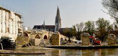 "Baustelle ""Steinerne Brücke"" in Regensburg"