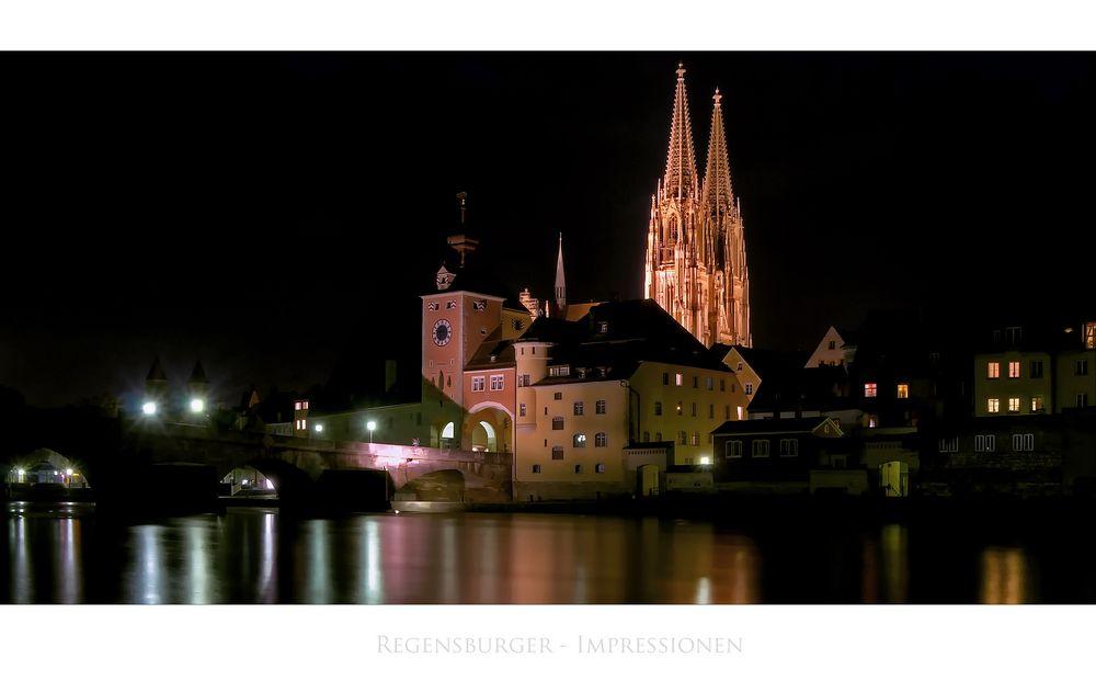 """Bayrische Impressionen """" Regensburg, der Blick zum Brücktor am Abend """""""