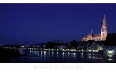 """Bayrische Impressionen """" Regensburger Skyline, zur Blauen Stunde... """""""