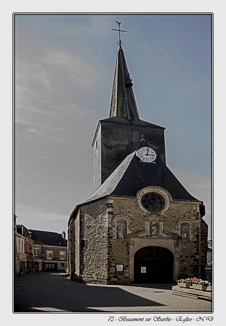 Beaumont sur Sarthe - Eglise Notre-Dame, architecture romane du XIème siècle