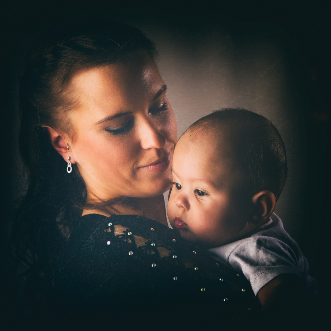 """""""beautiful mother with baby"""" vintage style"""