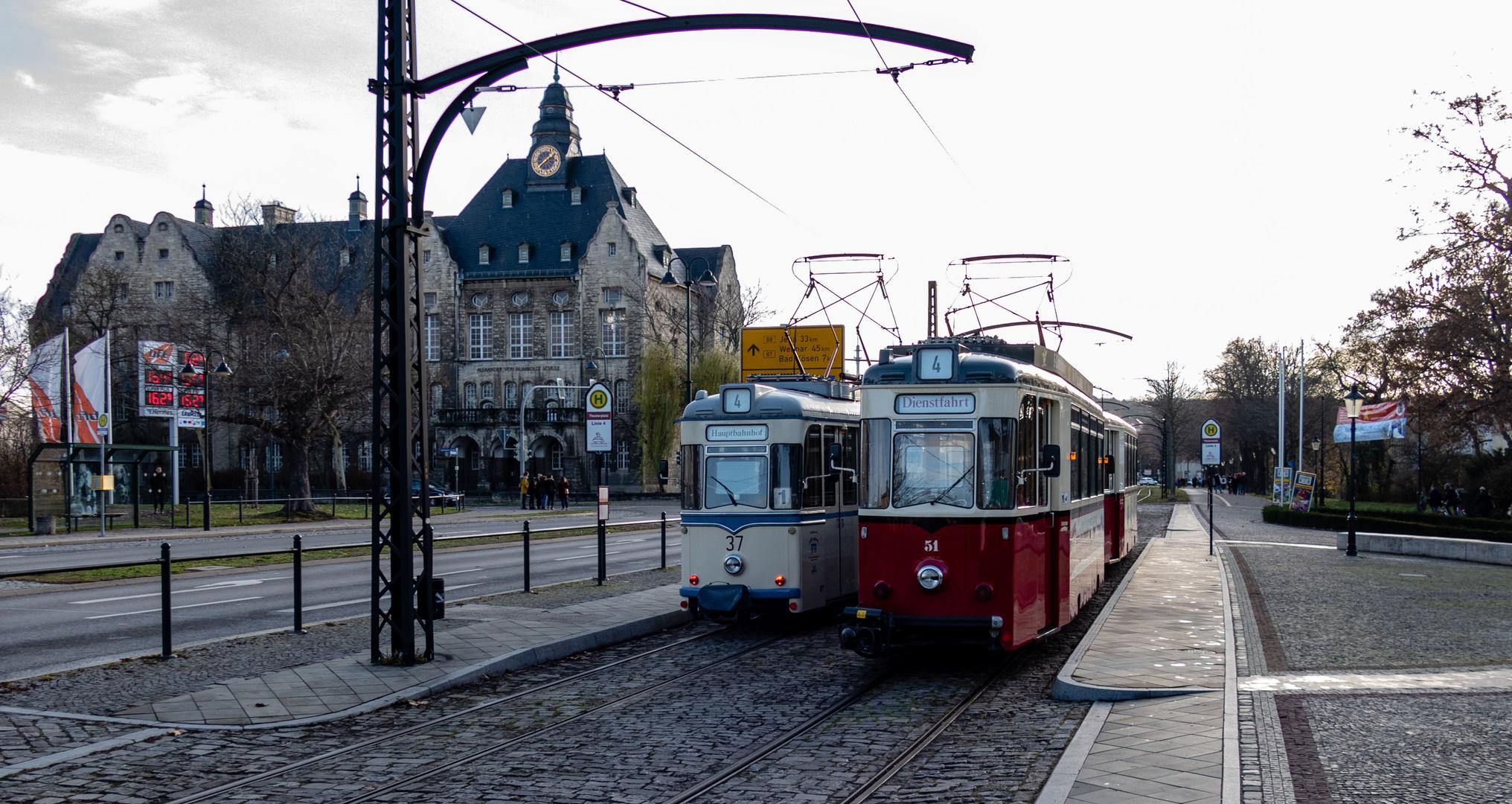 Begegnung der Straßenbahn in Naumburg