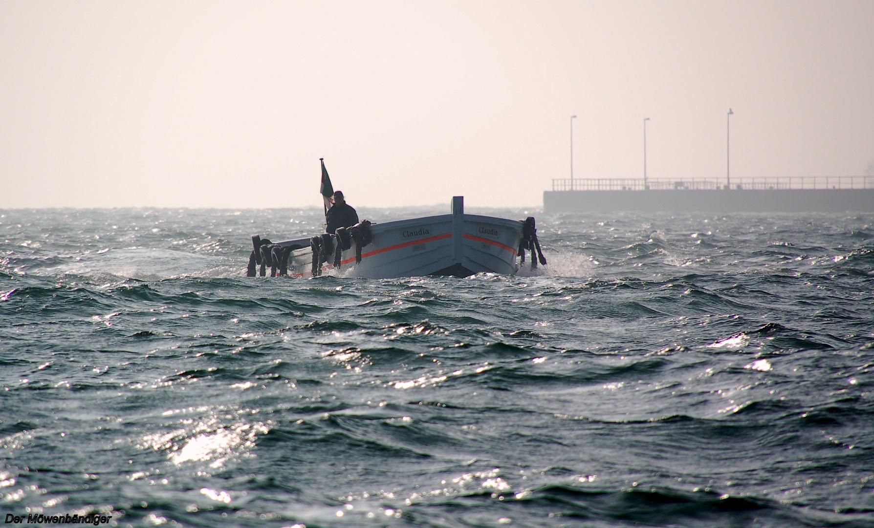 Bei jedem Wind und Wetter, Börteboot vor Helgoland