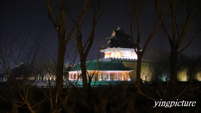 Beijing the imperial palace watchtower at night