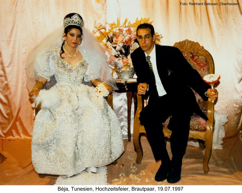 Beja Tunesien Hochzeitsfeier Brautpaar 1997 Foto Bild Africa