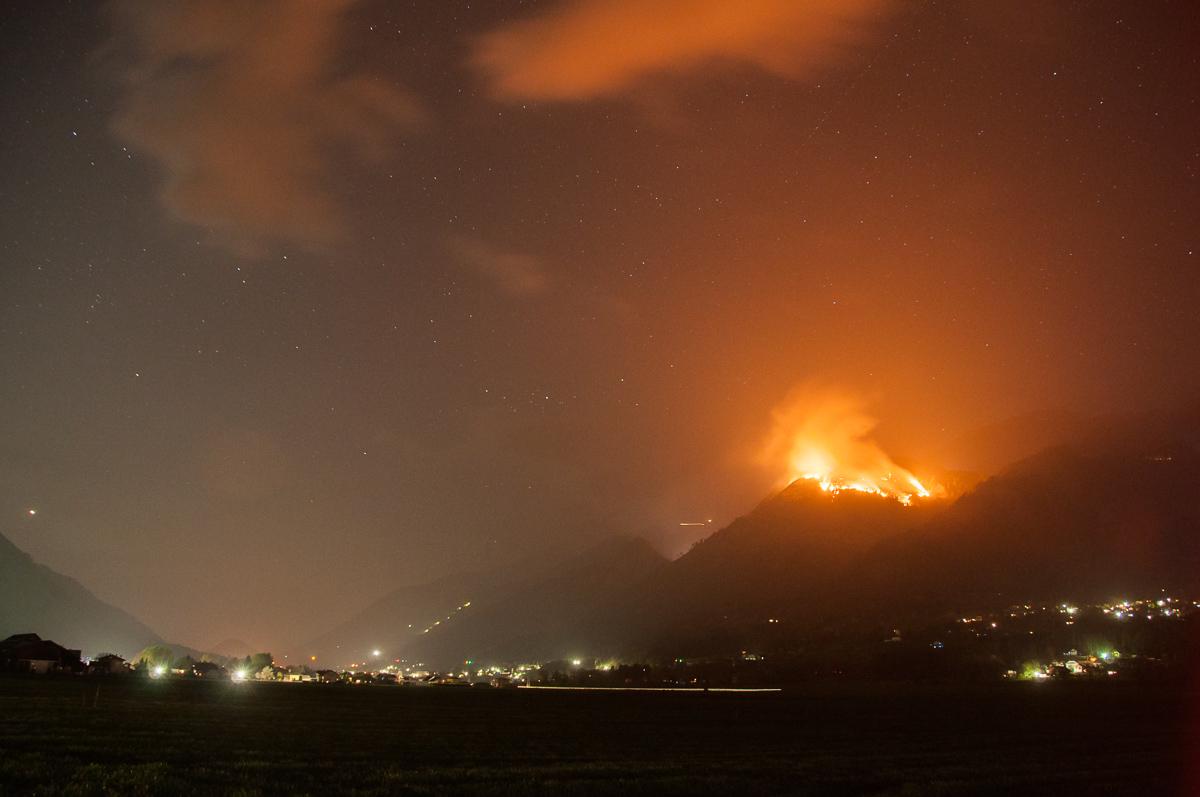 Berg in Flammen