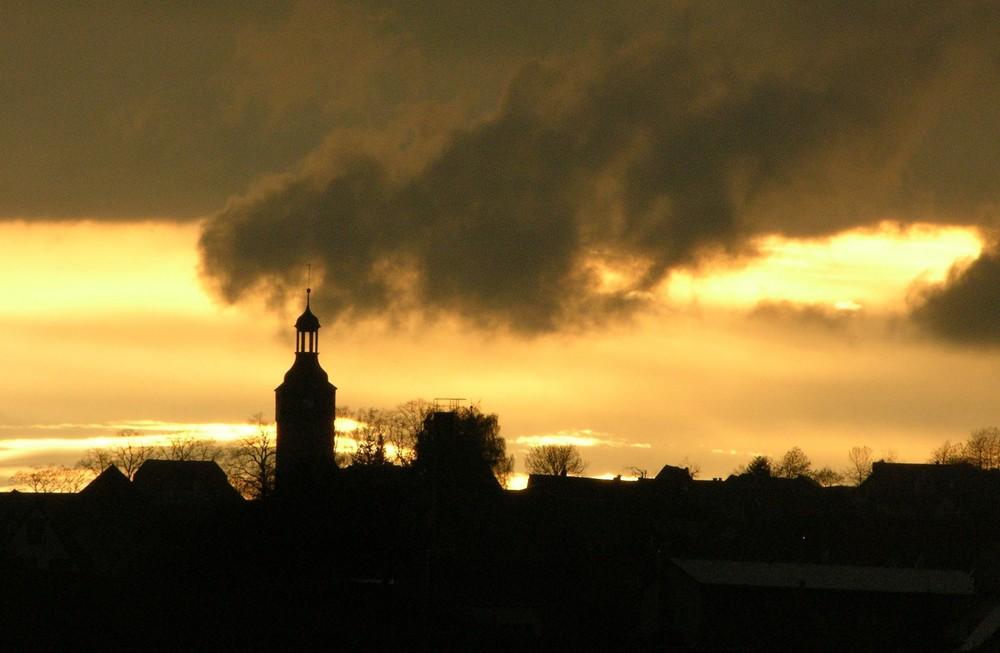 Bergdorf am Abend