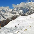 Bergpanorama am Start zum Abstieg vom Larkya La