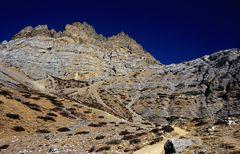 Bergpanorama zwischen dem Thorong La und Thorong Phedi