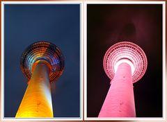 Berliner Fernsehturm in verschiedenen Farben