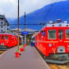 Bernina-Express in Tirano (Italien)