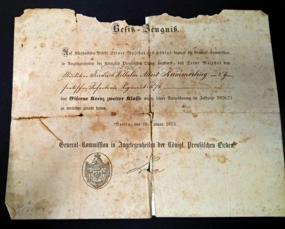 Besitz-Zeugnis von 1873