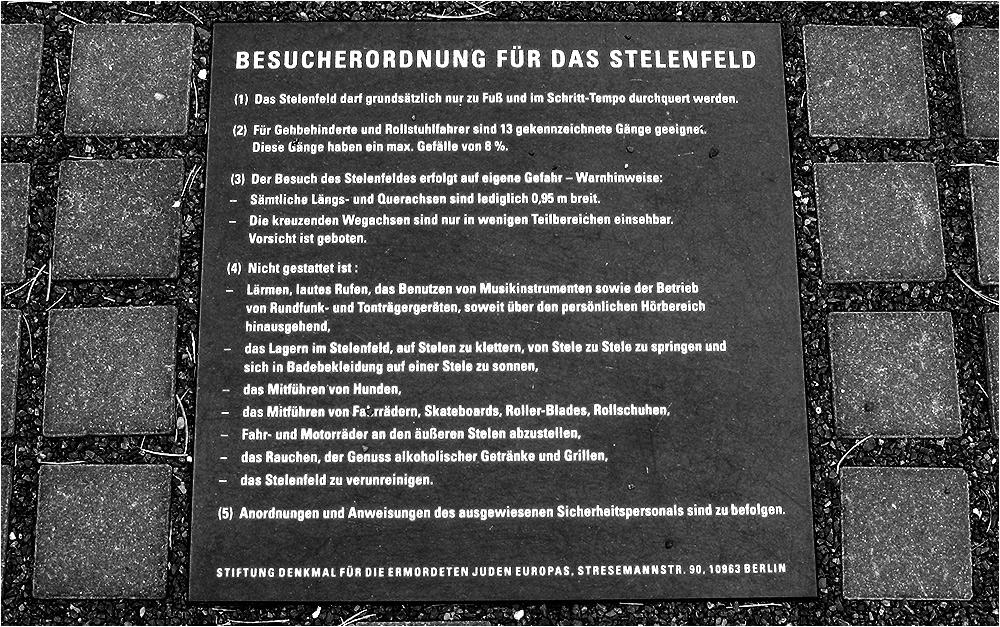 Besucherordnung für das Stelenfeld