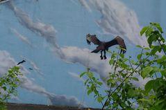 Betonwand mit Graffti von Dare trifft auf Natur