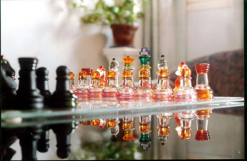 better version of coloured glass chess