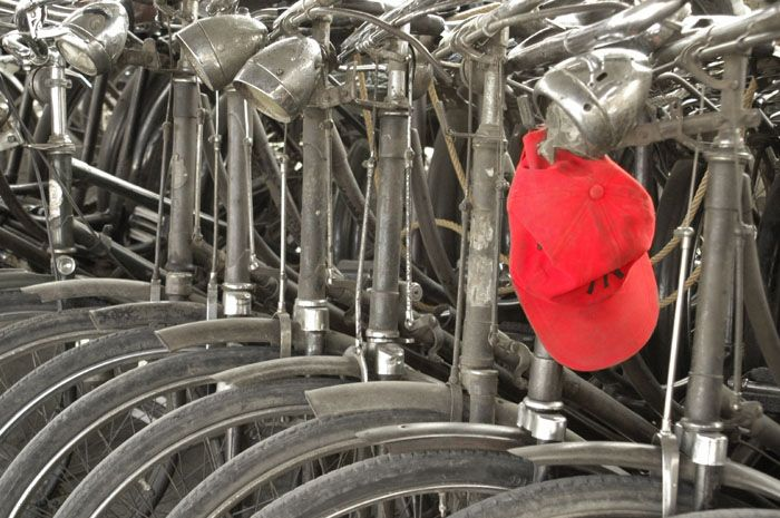 bicyles and red cap