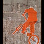 biker on the wall