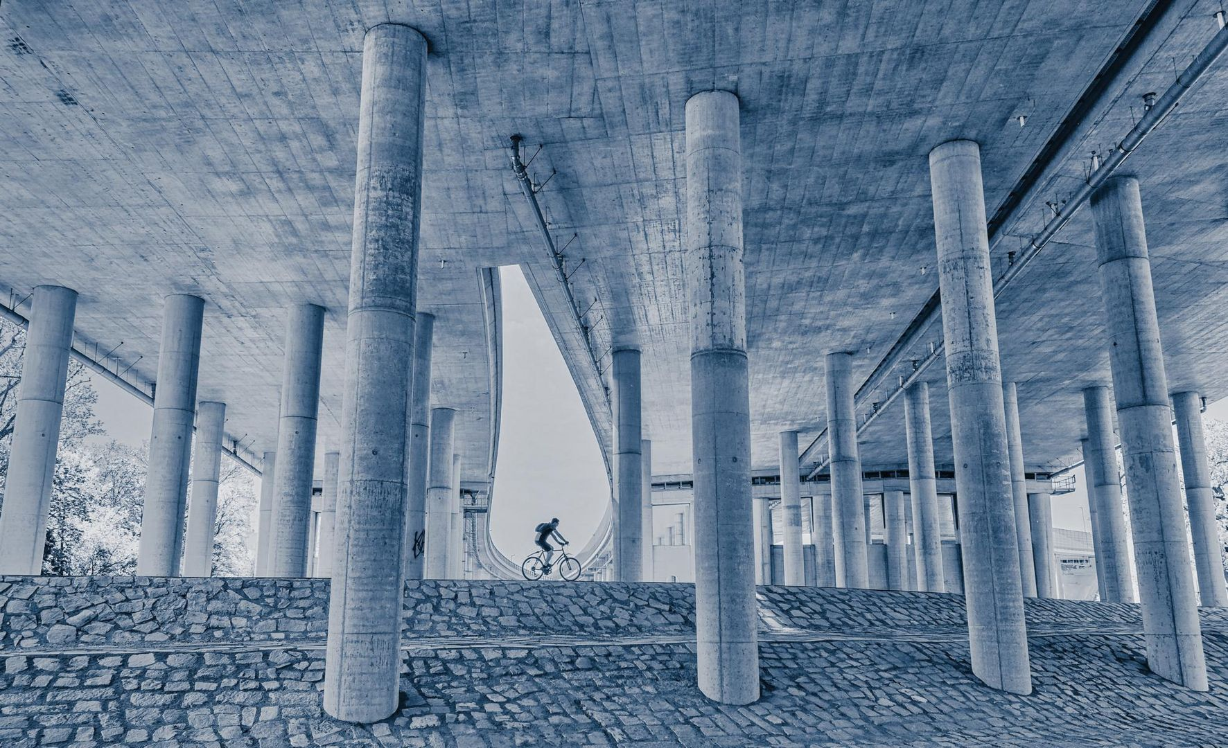 biker under highway