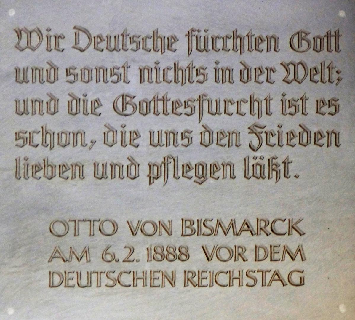 Bismarck Gedenktafel - Markige Worte