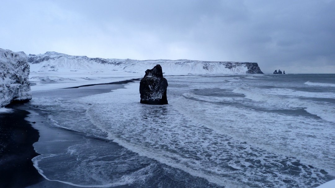Black Beach & stormy sea in Vík, Iceland