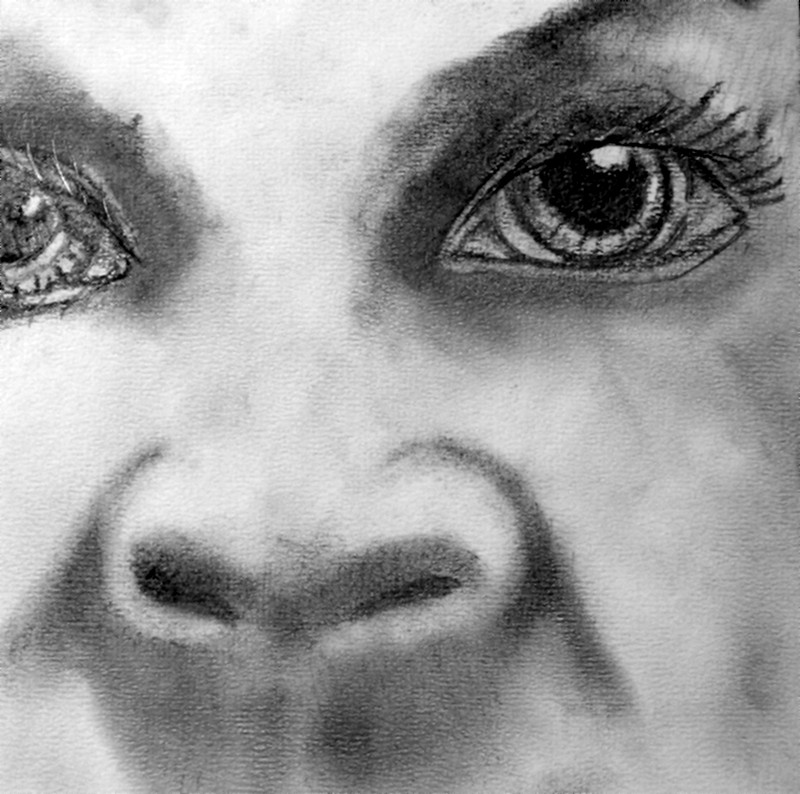 """""""Black White Girl"""" Drawn and photographed by Frank Savage."""