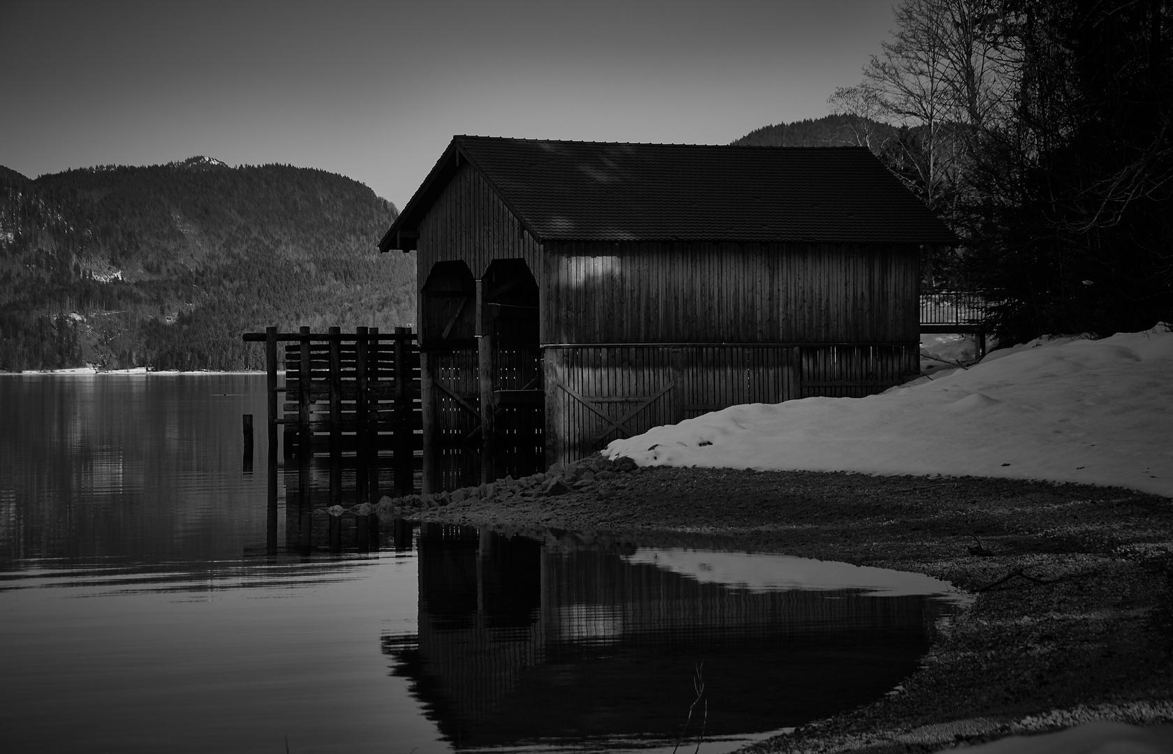 black & white Walchensee