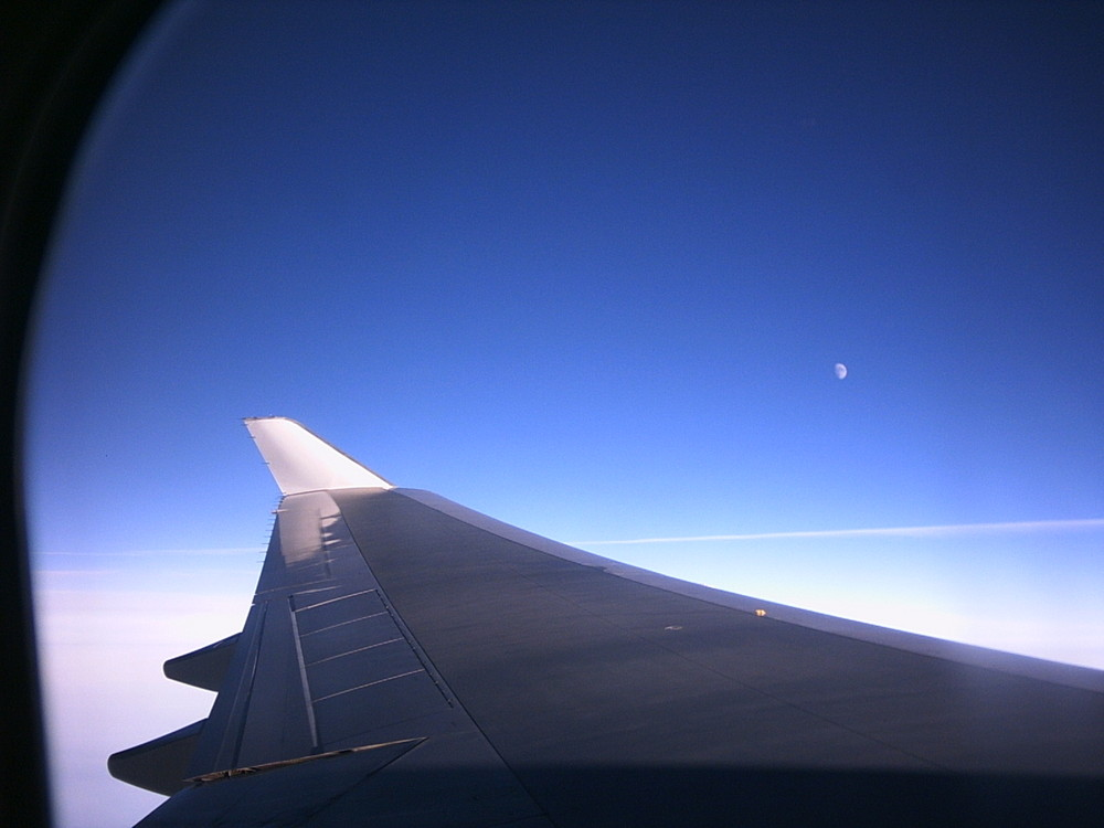 Blau Himmel in einer Boeing 747 nach New York
