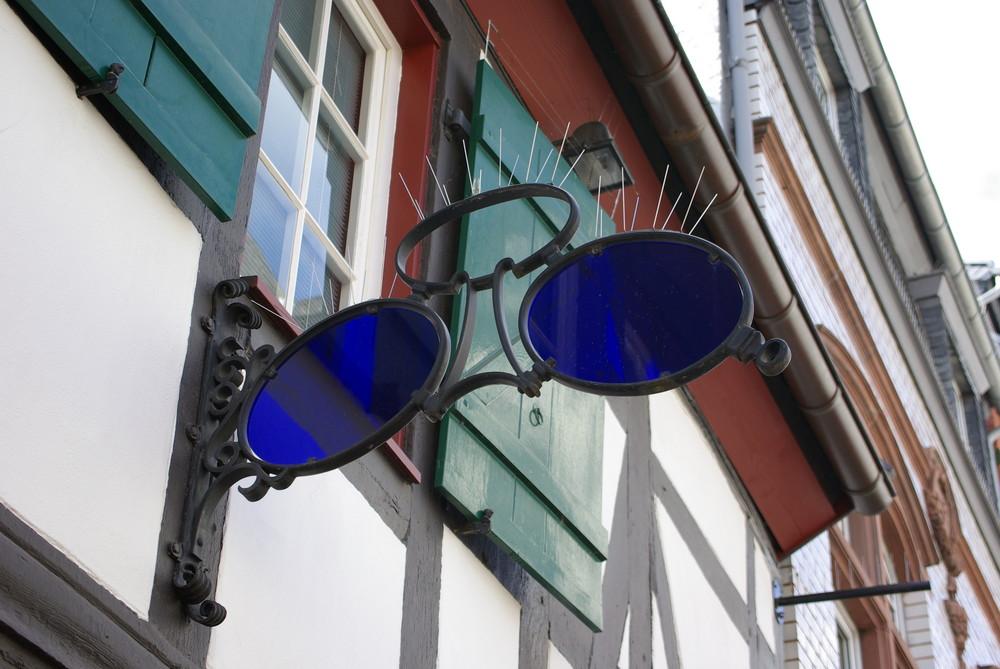Blaue Brille mit Taubenabweisern