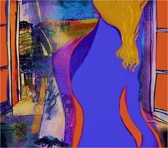 Blaue Frau am offenen Fenster
