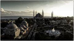 Blaue Moschee bei Sonnenuntergang
