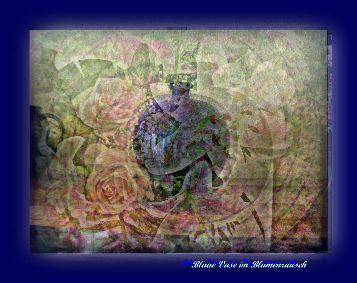 Blaue Vase im Blumenrausch