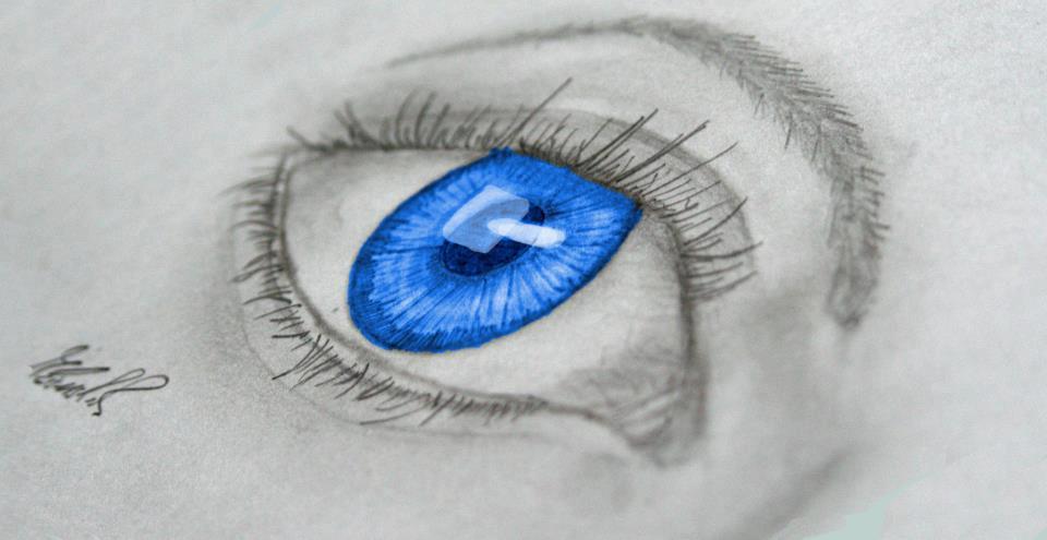 Blaues Auge (Bleistiftzeichung + Kolorierung)