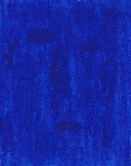Blaues Gesicht auf blauem Rechteck