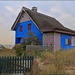 Blaues Haus am Strand