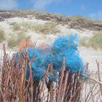 blaues strandgut, farbtupfer an den dünen von hörnums weststrand