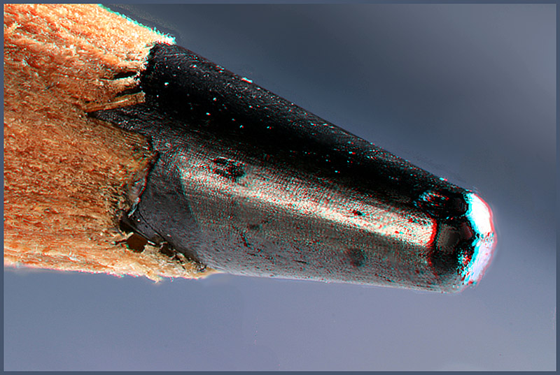 Bleistiftspitze als Rot/Cyan-Anaglyphe