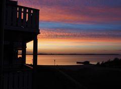 Blick am Abend vom Balkon ...