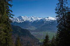Blick auf Bödeli ( Interlaken ) und die 3 berühmten Berner ( Eiger,Mönch,Jungfrau )