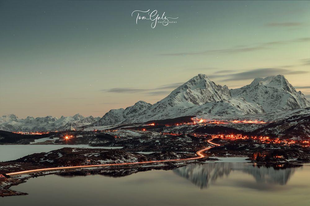 Blick auf Bøstad, Lofoten Norwegen